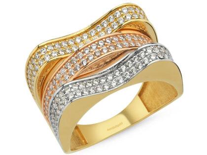 14 Ayar Altın Yüzük Triacolor