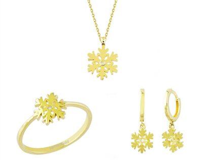 Altın 3'lü Takı Seti Kartanesi 14K Gold