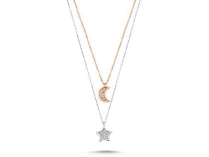 Altın Ay Yıldız Kolye 14K Rose Ve Beyaz Özel Tasarım
