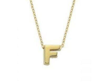 Altın F Harfli Taşsız Kolye