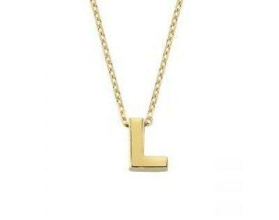 Altın L Harfli Taşsız Kolye