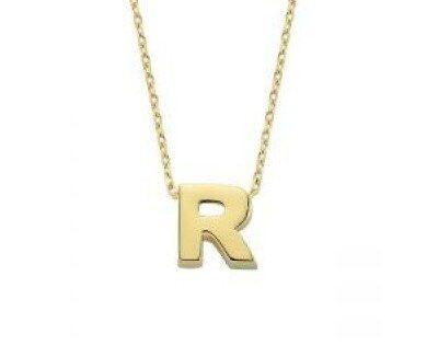 Altın R Harfli Taşsız Kolye