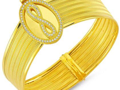 Altın Hasır Kelepçe Beş Sıralı Oval Sonsuzluk