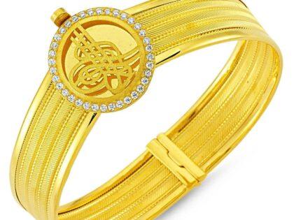 Altın Hasır Kelepçe Dört Sıralı Yuvarlak