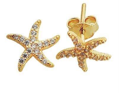 14 Ayar Altın İğne Küpe Deniz Yıldızı Modeli