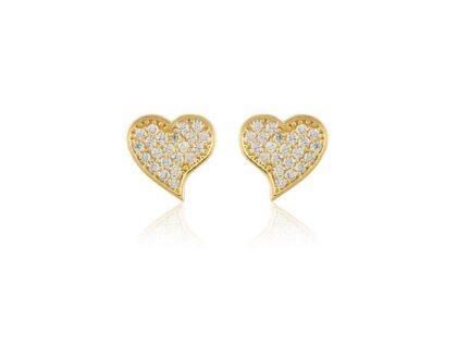 Altın Kalp Küpe Çivili 14K Gold
