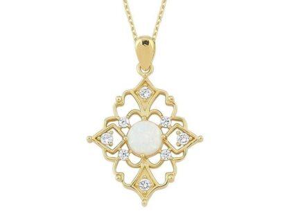 Altın Kolye Opal Taşlı 14K Gold