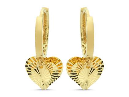 Altın Sallantılı Küpe Shakira Kalp'li Kalemli