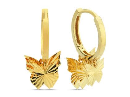 Altın Sallantılı Küpe Shakira Kelebek Kalem'li