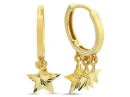 Altın Sallantılı Küpe Shakira Yıldız Kalem'li
