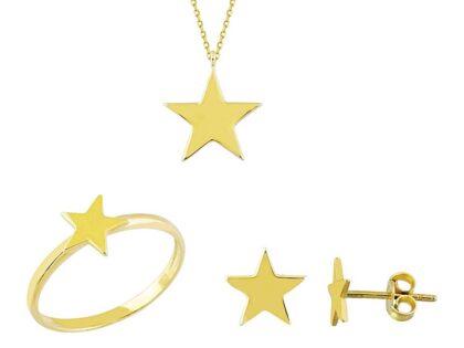 Altın Yıldız 3'lü Takı Seti 14K Gold