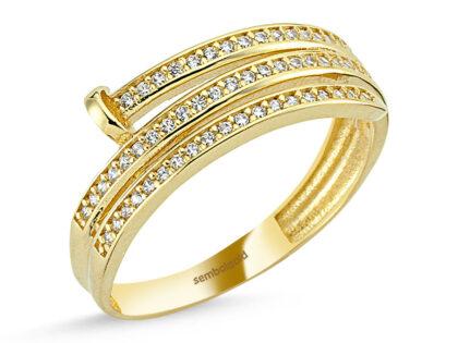 Altın Yüzük Çivi Tasarım Suyolu 14K Gold