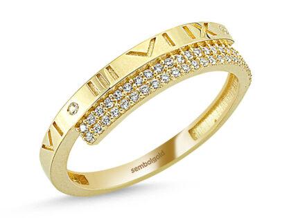 Altın Yüzük Roma Rakam 14K Gold