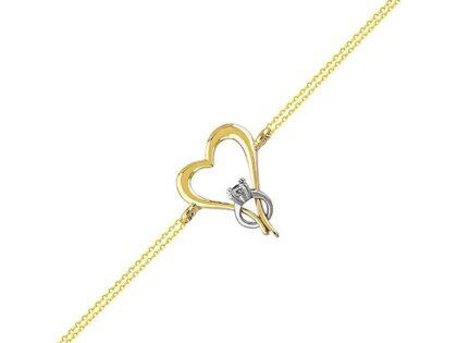 Altın Zincir Bileklik Kalp Tektaş 14K Gold