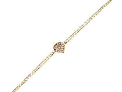 Altın Zincir Damla Bileklik 14K Rose Gold