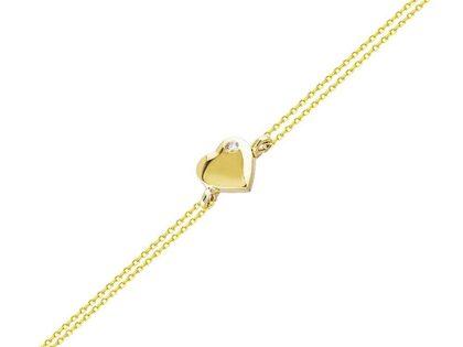 Altın Zincir Kalp Bileklik 14K Gold Taşlı