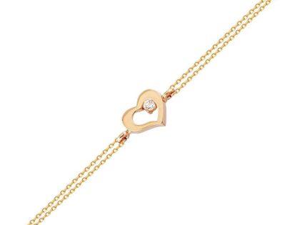 Altın Zincir Kalp Bileklik 14K Rose Gold Taşlı