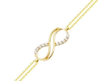 Altın Zincir Sonsuzluk Bileklik 14K Gold  Taşlı