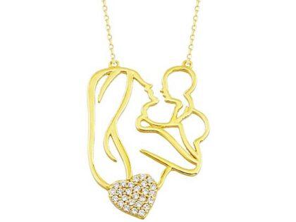 Anne Bebek Altın Kolye Kalp'li 14K Gold