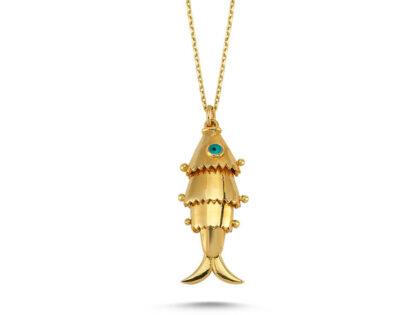 Balık Altın Kolye 14K Gold Eski Tasarım