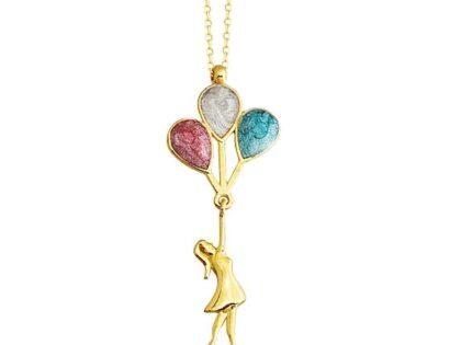 Baloncu Kız Altın Kolye 14K Gold Sedef'li