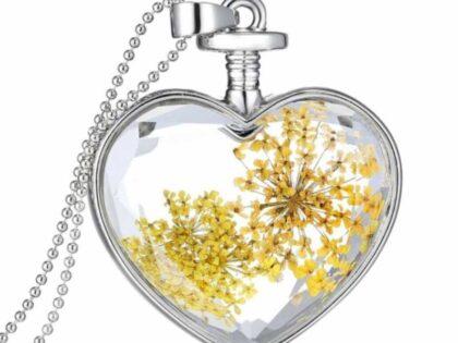 Canlı Sarı Çiçek Kolye 18k Beyaz Altın Kaplama