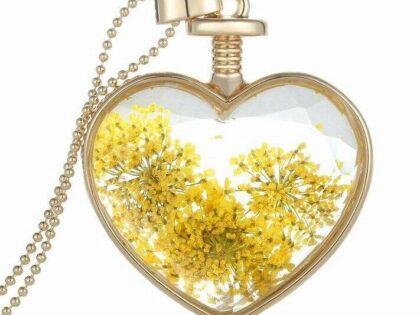 Canlı Sarı Çiçek Kolye 18k Sarı Altın Kaplama
