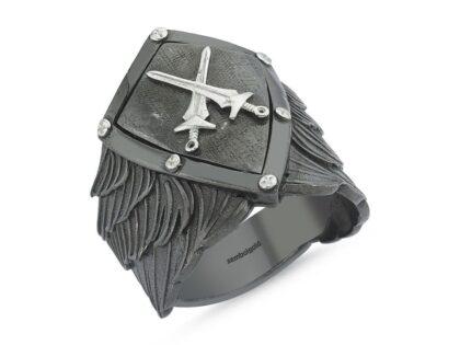 Erkek Gümüş Yüzük Kılıçlı Kalkan Özel Tasarım