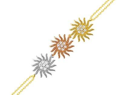Güneş Altın Zincir Bileklik 14K Gold Tricolor