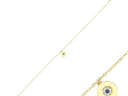 Halhal Altın Bileklik Nazarlı 14K Gold 20 - 25 cm