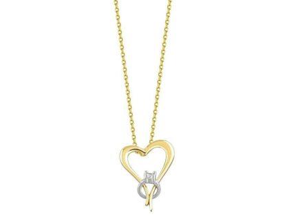 Kalp Tektaş Altın Kolye 14K Gold