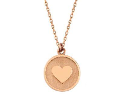 Kalp'li Altın Kolye 14K Rose Gold Yuvarlak
