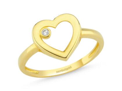 Kalp'li Altın Yüzük Tektaş ile 14K Gold