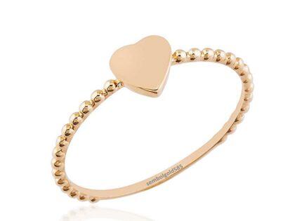 Kalp'li Rose Altın Yüzük Top 14 K Gold