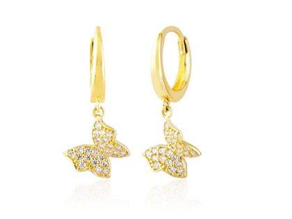 Kelebek Altın Sallantılı Küpe 14K Gold Taşlı