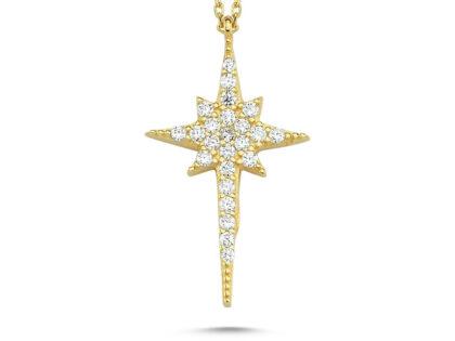Kutup Yıldızı Altın Kolye 14K Gold Zirconia 2cm
