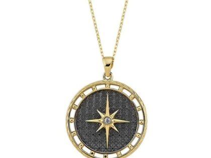 Madalyon Pusula Altın Kolye