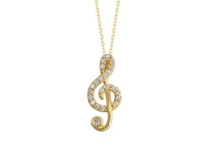 Müzik Notası Altın Kolye 14K Gold Taşlı