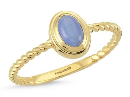 Opal Mavi Altın Yüzük 14K Burgu Tasarım