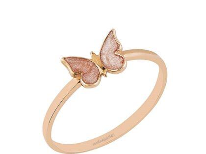Rose Altın Kelebek Yüzük Sedefli 14K