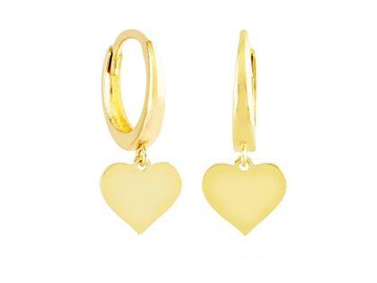 Sallantılı Altın Kalp Küpe 14K Gold Taşsız