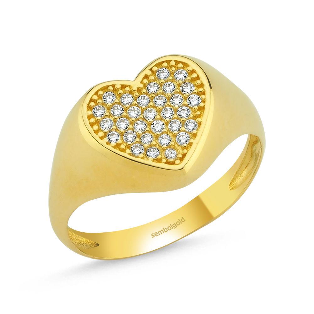 Şövalye Altın Yüzük Kalp 14K Gold