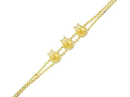 Tugralı Bileklik Sarı Altın 14K Lale