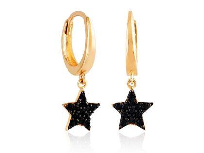 Yıldız Rose Altın Sallantılı Küpe Onix Taşlı